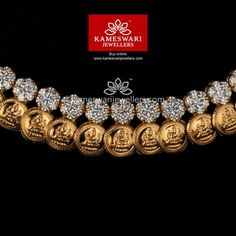 Kasu CZ Balance from Kameswari Jewellers Pearl Necklace Designs, Gold Earrings Designs, Gold Jewellery Design, Gold Jewelry, India Jewelry, Bridal Jewelry, Jewelry Dish, Gold Bangles, Jewelry Bracelets