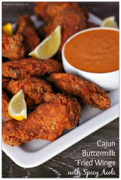 In need of recipe inspiration for your game day spread? Look no further than these deliciously crispy Cajun buttermilk fried wings with spicy aioli. Cajun Fried Chicken, Fried Chicken Wings, Fried Chicken Recipes, Cajun Recipes, Cooking Recipes, Haitian Recipes, Louisiana Recipes, Donut Recipes, Cajun Food