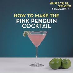 Beat the heat with this Bernadette Inspired Cocktail recipe! 🍸 Don't miss Cate Blanchett and Troian Bellisario in WHERE'D YOU GO, BERNADETTE – in theaters August 16! Party Drinks, Fun Drinks, Liquor Drinks, Vodka Drinks, Beverages, Pink Cocktails, Cocktail Drinks, Martini Recipes, Cocktail Recipes