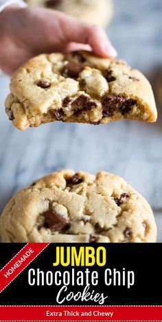 These Jumbo Chocolate Chip Cookies are made from scratch, extra thick and chewy chocolate chip cookies. They have a slight crisp on the outside and are soft in the center, with plenty of chocolate morsels throughout. Easy Chocolate Chip Cookies, Chocolate Cookie Recipes, Homemade Chocolate, Chocolate Chip Cookies Recipe From Scratch, Big Cookie Recipe, Giant Cookie Recipes, Giant Cookies, Chocolate Cake, Dessert Recipes