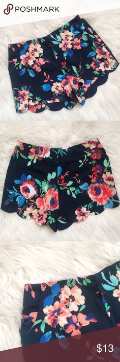 Floral Fitted Soft Shorts Beautiful vibrant floral pattern! Has pockets! More fitted than flowy.  Never worn. Shorts