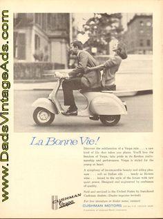 1961 Cushman Vespa Scooter vintage ad – La Bonne Vie!