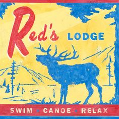 Red's Lodge by Roger Groth Vintage Advertisement on Wrapped Canvas