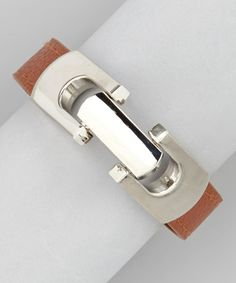 Take a look at this Silver & Rust Brown Latch Bracelet by R U S H By DENIS & CHARLES on #zulily today!