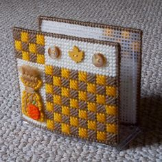 """Plastic Canvas: Harvest Squares Napkin Holder Covers (covers only) -- """"Ready, Set, Sew!"""" by Evie (Etsy)"""