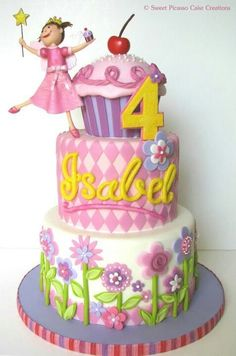 Pink and Purple Flower, Harlequin and Cupcake Cake with Little Princess Topper