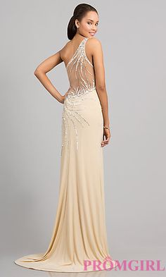 Floor Length One Shoulder Dress at PromGirl.com