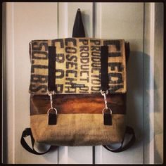 Backpack in burlap and faux leather  on Etsy, $88.00
