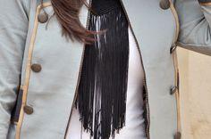 At www.somethingfashion.es #militarystyle #burberry #fringenecklace #jewelry