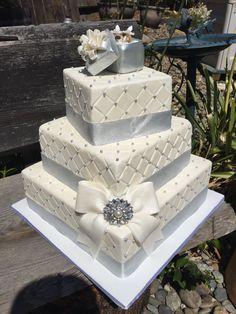 Square faux/fake gift box wedding cake by CakeintheCupboard on Etsy