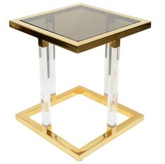Ultra Chic Brass and Lucite Side Table by Charles Hollis Jon.- Ultra Chic Brass and Lucite Side Table by Charles Hollis Jones Ultra Chic Brass and Lucite Side Table by Charles Hollis Jones - Table Furniture, Cool Furniture, Table Desk, Acrylic Side Table, Small Accent Tables, Acrylic Furniture, Brass Side Table, Modern Glass, Modern Materials