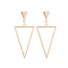 Add a Minimal Yet Trendy Twist to Your Look with Aaishwarya Golden Toned Inverted Triangular Dangler Earrings. #goldenearrings #danglers #danglerearrings #triangularearrings #geometricearrings #trendyearrings #fashionjewelry #goldtonedearrings