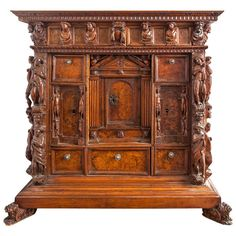 Early Italian walnut Bambooci cabinet, Genoa or Liguria, 18th century or before | From a unique collection of antique and modern cabinets at https://www.1stdibs.com/furniture/storage-case-pieces/cabinets/