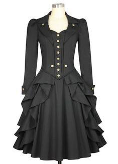 bde0525d80a Chic Star Plus Size Victorian Goth Black Steampunk Dress