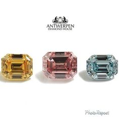 "By @Amy Hager Diamantes ""Fancy Color Diamond Set.  3 stones, total carat weight 0.86ct.  0.26 Natural Fancy Intense Orangy-Yellow EVen. 0.36 Natural Fanct Intense Pink Even. 0.24 Natutal Fancy Intense Green-Blue Even.  All Emerald cut with GIA certificates.  Whatsapp +554188895200 or info@antwerpendh.com  #highjewelry #diamondjewelry #fancycolordiamonds #rarediamonds #bluediamond #diamonds  #doha #kuwait #qatar #uae #Москва #moscow #luxury #роскошь #бубны #الماس #钻石 #beijing #shanghai #豪华…"