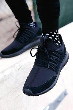 Black Tubular Nova x Polka Dot Socks