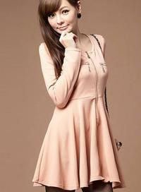 Pink Globed Long Sleeves Dress with Long Zip at The Front