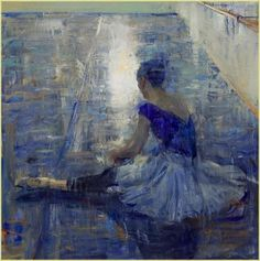 Quang Ho, Seated Dancer in Blues on ArtStack #quang-ho-1 #art