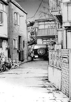 Drawing the Naked City: Shohei Manabe Cityscape Drawing, City Drawing, Comic Book Layout, Comics Illustration, Background Drawing, Ink Pen Drawings, Perspective Drawing, Amazing Drawings, Urban Sketching