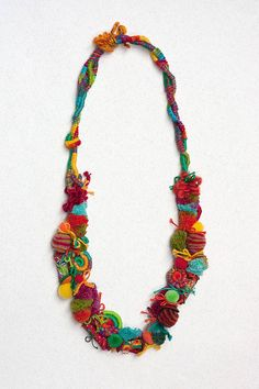 Colorful chunky necklace, mixed media statement jewelry with fiber, textile and leather beads and bamboo beads, OOAK