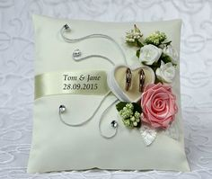 .Personalized wedding ring cushion pillow with rings holder box 30 color**..