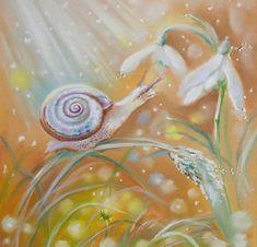 """Macrocosme : un petit miracle"" par Annet Loginova Snail Cartoon, Pop Surrealism, Love Heart, Les Oeuvres, Illustrators, Art Drawings, Digital Art, Illustration Art, Doodles"