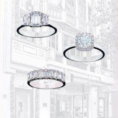 Classic halo setting, emerald eternity and fancy cluster with trapeze cuts. #love #diamond #diamonds #charlesrose #beautiful #ring