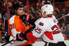 Chris Neil and Oliver Lauridsen Ottawa Senators v Philadelphia Flyers