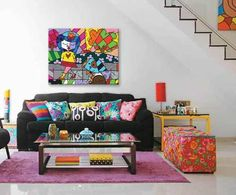 Pop art style romero britto 66 New Ideas Pop Art Decor, Decoration, Living Room Art, Living Room Designs, Colourful Living Room, Décor Boho, Colorful Decor, Wall Colors, Furniture Decor