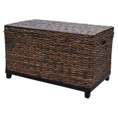 """this or something like this for toy storage for the living room, since Elijah is ALWAYS dragging all his books and toys in there from his room! Threshold™ Global Trunk - Dark Brown depends on color scheme Wicker Storage Trunk, Wicker Trunk, Wicker Baskets, Global Home, Seaside Style, Coffee Table With Storage, Table Storage, Coffee Tables, Coastal Living"
