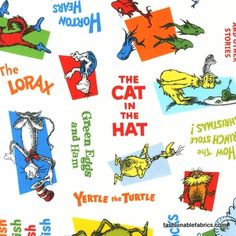 $8.95 Fabric... Celebrate Seuss Dr. Seuss Book Titles Tossed on White by Robert Kaufman Fabrics