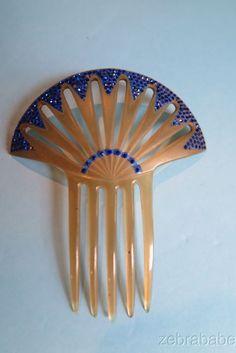 Antique Vintage Celluloid Comb w Blue Rhinestones Art Deco Style