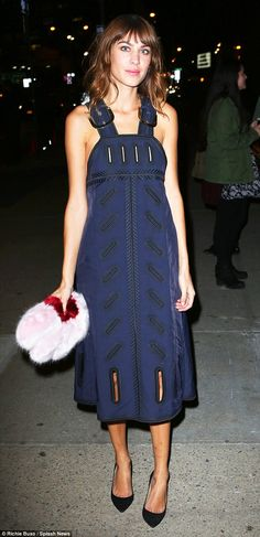Alexa Chung in Stella McCartney dress, Shrimps clutch - 2014 CFDA/Vogue Fashion Fund Awards, at Spring Studios in Tribeca.  (November 2014)