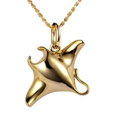 YELLOW GOLD SILVER 925 HIGH POLISH SHINY HAWAIIAN MANTA RAY FISH CHARM PENDANT