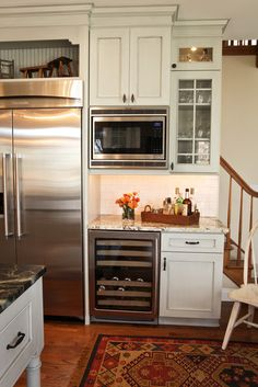 Microwave wall, wine rack over fridge, wine fridge-everything for the remodel!