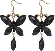 Black Butterfly Rhinestone Faceted Dangle Earrings - Candy Luxx