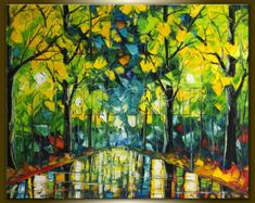Landscape Painting Oil on Canvas Birch Tree Forest Textured