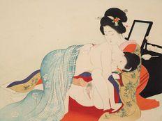 Shunga, authentic woodblock print by/after Tomioka Eisen (1864-1905), from his famed 12-part volume 'Yakumo no chirigi' - Japan - ca. 1900 (Meiji Period)