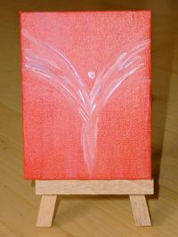 Engel Bilder / Engelsflügel in Acrylmalerei. Rotes  Acrylbild als Wohndeko mit Mini Staffelei. http://de.dawanda.com/product/47685694-kleines-engelbild von Salabrin Kunst und Seide auf DaWanda.com
