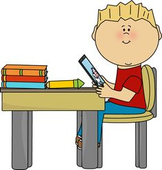 Boy Sitting at School Desk with a Tablet Clip Art Boy Sitting at School Desk with a Tablet Image School art activities Kids technology Kids clipart