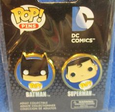 Funko POP Pins-DC Comics BATMAN and SUPERMAN-Collectibles-Metal-NEW in Package #Funko