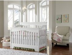 A pure and pristine nursery featuring a Young America Built To Grow Debut Crib.  http://www.youngamerica.com/built-to-grow-debut-crib.html
