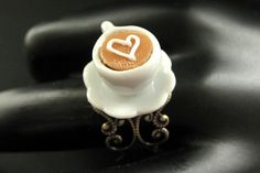 Heart Latte Ring. White Teacup Ring. by StumblingOnSainthood, $22.00
