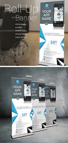 Mobile App Roll-Up Banner Template #design Download: http://graphicriver.net/item/mobile-app-rollup-banner/10633373?ref=ksioks