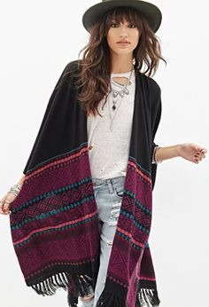 Open-Front Southwestern Poncho | FOREVER21 - 2000066812 love the hat and poncho