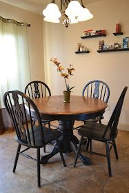 This table & chair set has been refinished like I want. Black base with stained top table, but I'd prefer the black chairs with stained seats over all black I think.Craftaphile: Refinished Table and Chairs