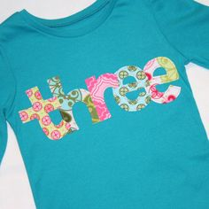 Girls THREE shirt for 3rd Birthday   3t long by ThePolkaDotTotSpot