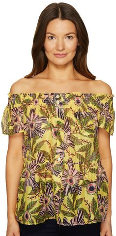 The look of love.  Enjoy a bouquet of beauty anytime with the romance of the  #REDVALENTINO #Passion #Flower #Silk #Cotton #Top. #clothing #apparel #blouses #tops