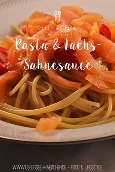 Rezept für Lieblingspasta: Spaghetti mit würziger Lachs-Sahne-Sauce mit Zitrone und Chili   Recipe for my favorite Pasta: Spaghetti with spicy salmon-cream-sauce with citrus and chili