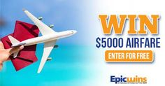 Enter the Epic Wins $5,000 Airfare Giveaway at  http://epicwins.us/giveaways/free-airfare/?lucky=11258 via @epicwinsus pic.twitter.com/GV2AsuTDJX